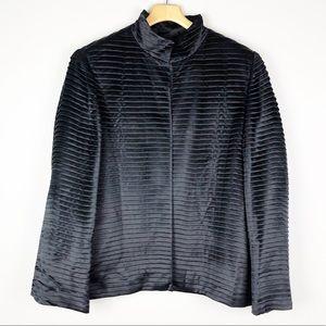 Dana Buchman Black Pleated Silk Blazer Jacket 16